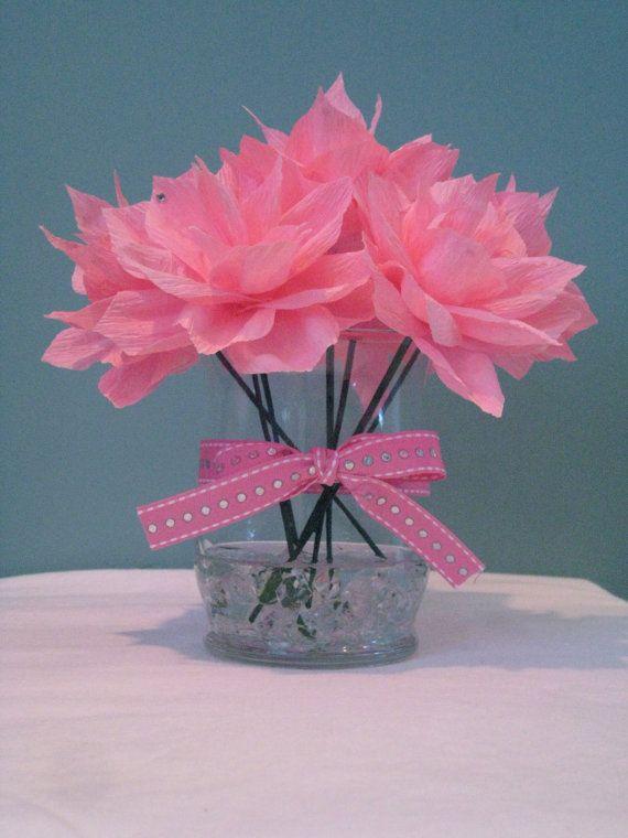Handmade crepe paper flower centerpiece my style pinterest handmade crepe paper flower centerpiece mightylinksfo