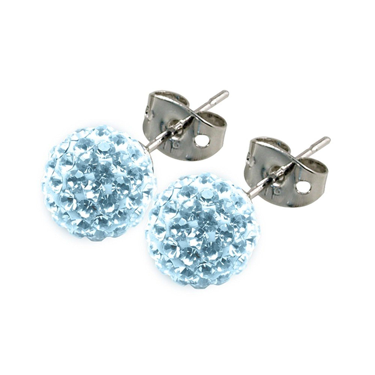 Donnay Tresor Paris Stud Earrings Light Blue 8mm Crystal Allergy Safe Anium