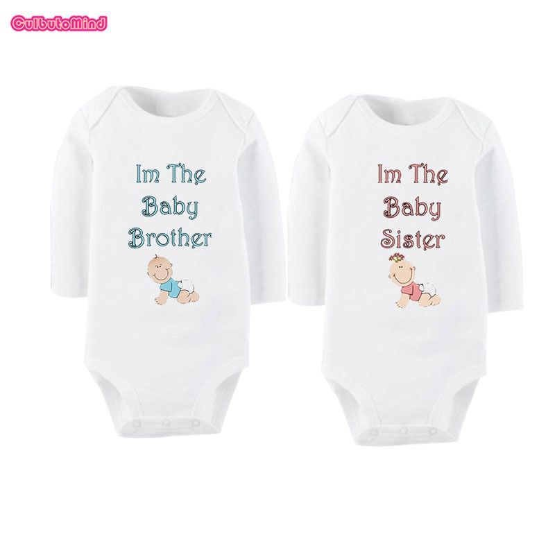 30798814bd906 Culbutomind I am The Baby Brother Sister Print Organic Cotton Long ...