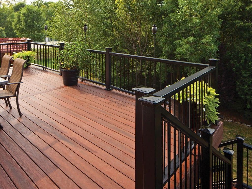 Horizon Composite Decking And Railing Shown In Rosewood Decking And Mission Profile In Black With Metal Balust Pergola Outdoor Deck