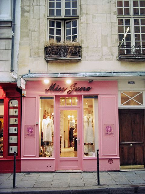 Little Clothing Store On The Side Streets In Paris Pink