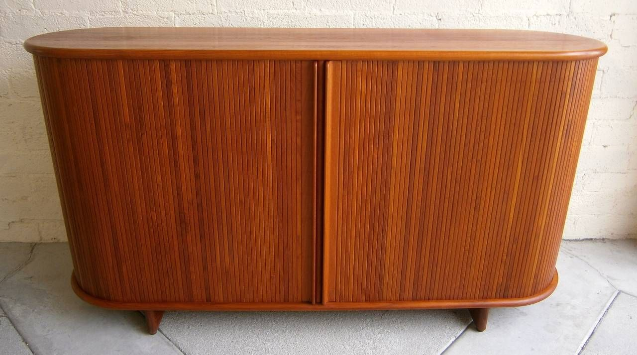 Danish Teak Credenza For Sale : Danish teak wood oval shaped tambour credenza cabinet c. 1960s