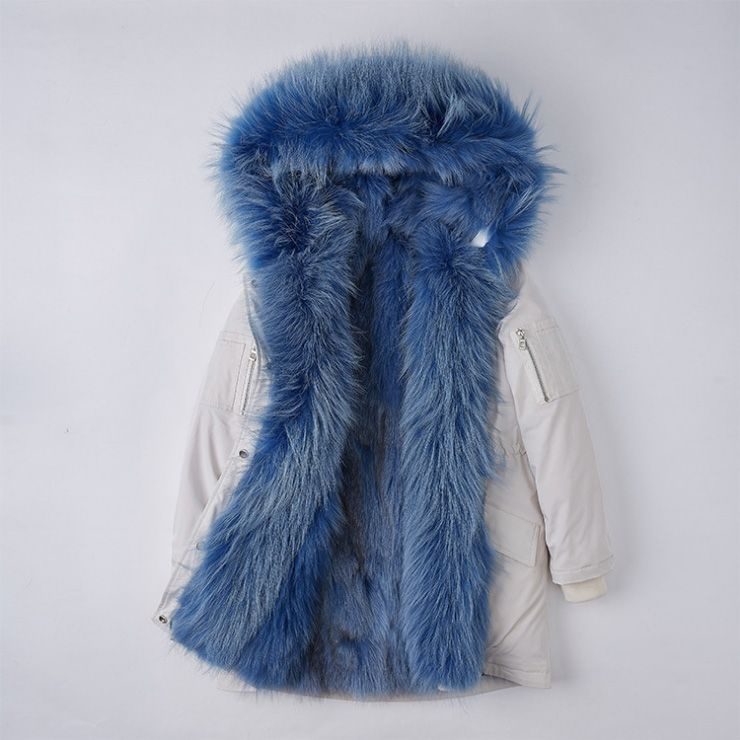 b21f8fbac3eb Detachable Fox Fur Lined Hooded Down-filled Parka with Raccoon Fur Trim 249  White-Blue-1