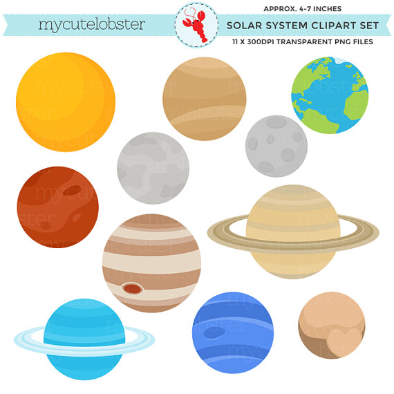 Solar System Clipart Set - clip art of the planets, Earth, moon ...