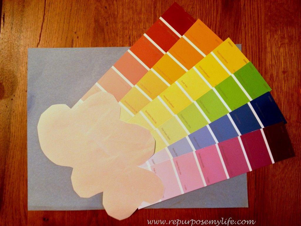 Rainbow paint swatch craft