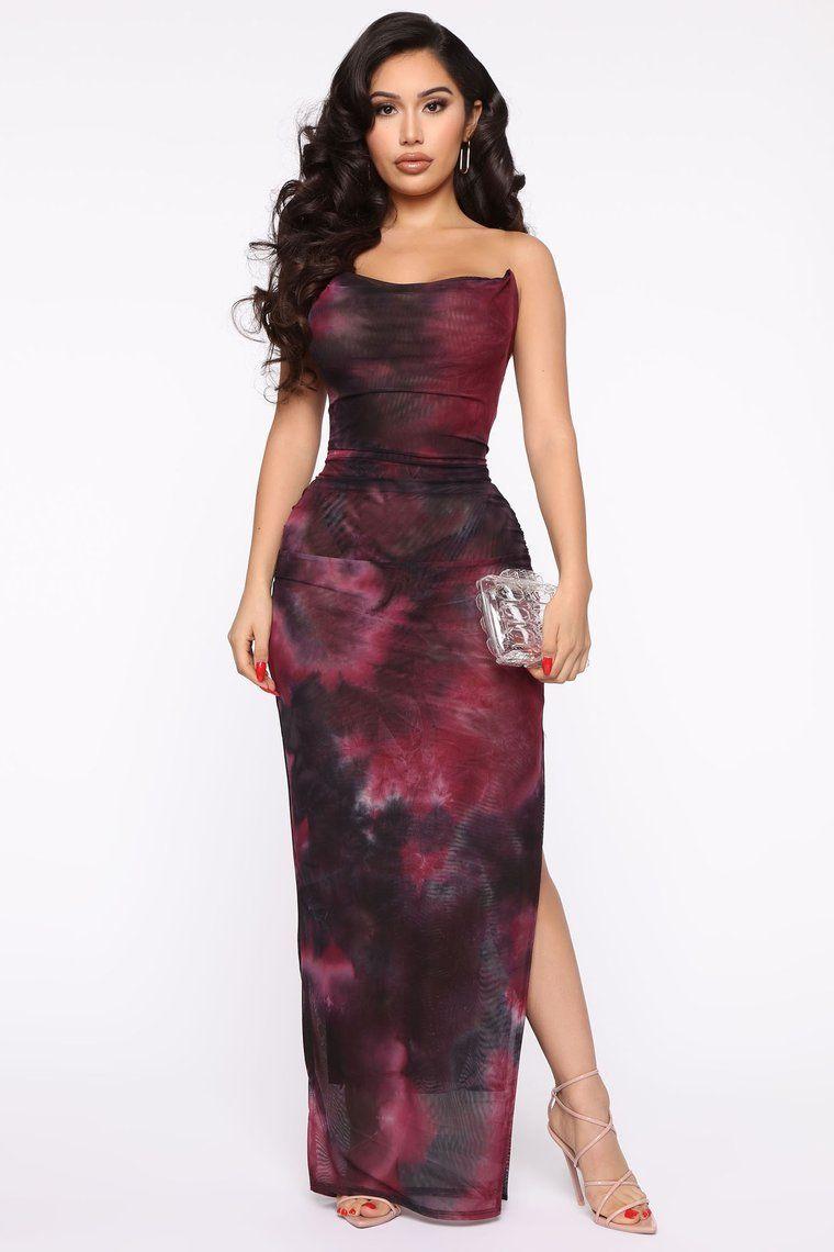 Made Of Soul Tie Dye Maxi Dress Black/Burgundy in 2020