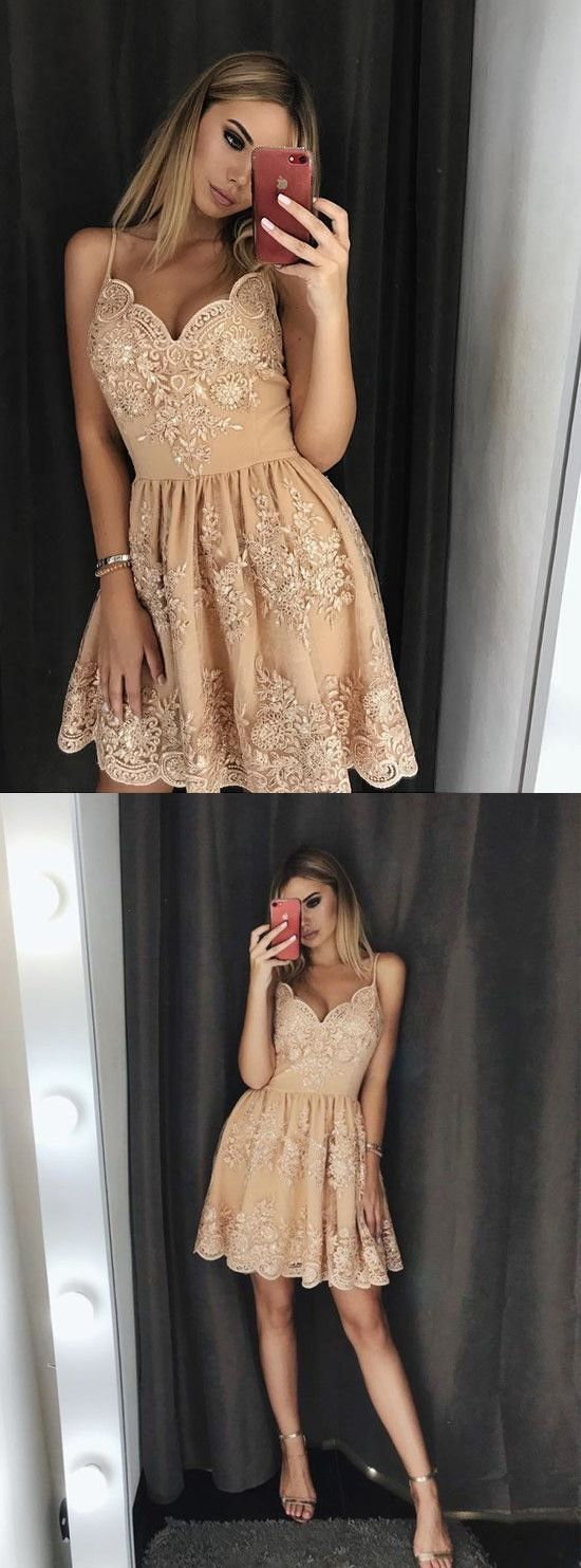 A line v neck spaghetti straps champagne short homecoming dresses