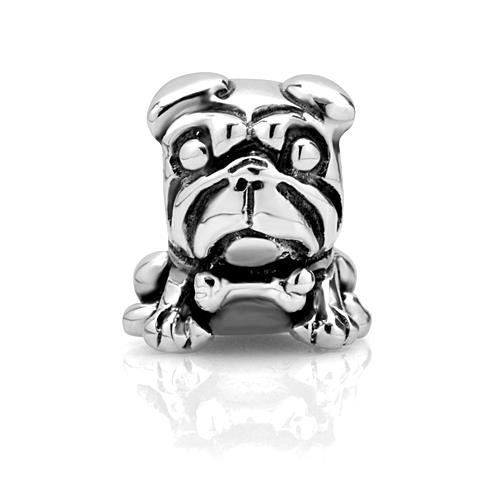 Black Bow Jewelry Sterling Silver Dog with a Bone Bead Charm