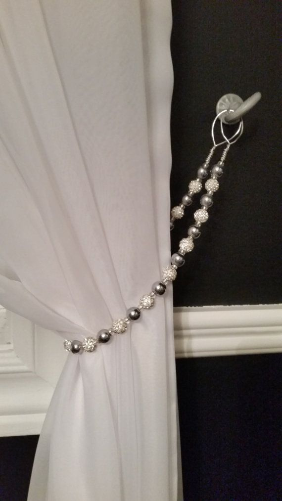 Beaded Tie Back W Silver White Glimmery Beads On Silver Wire