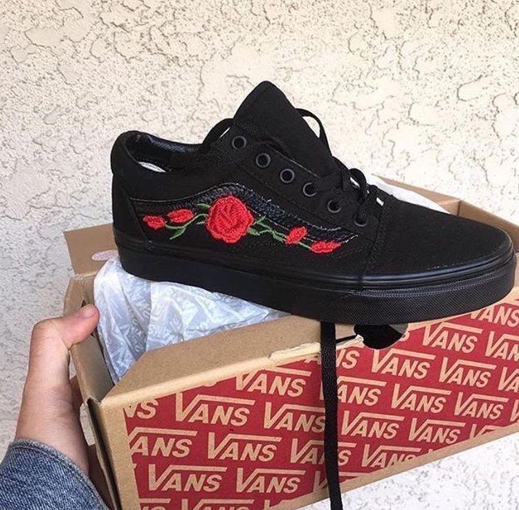 Black rose vans | Sock shoes, Me too