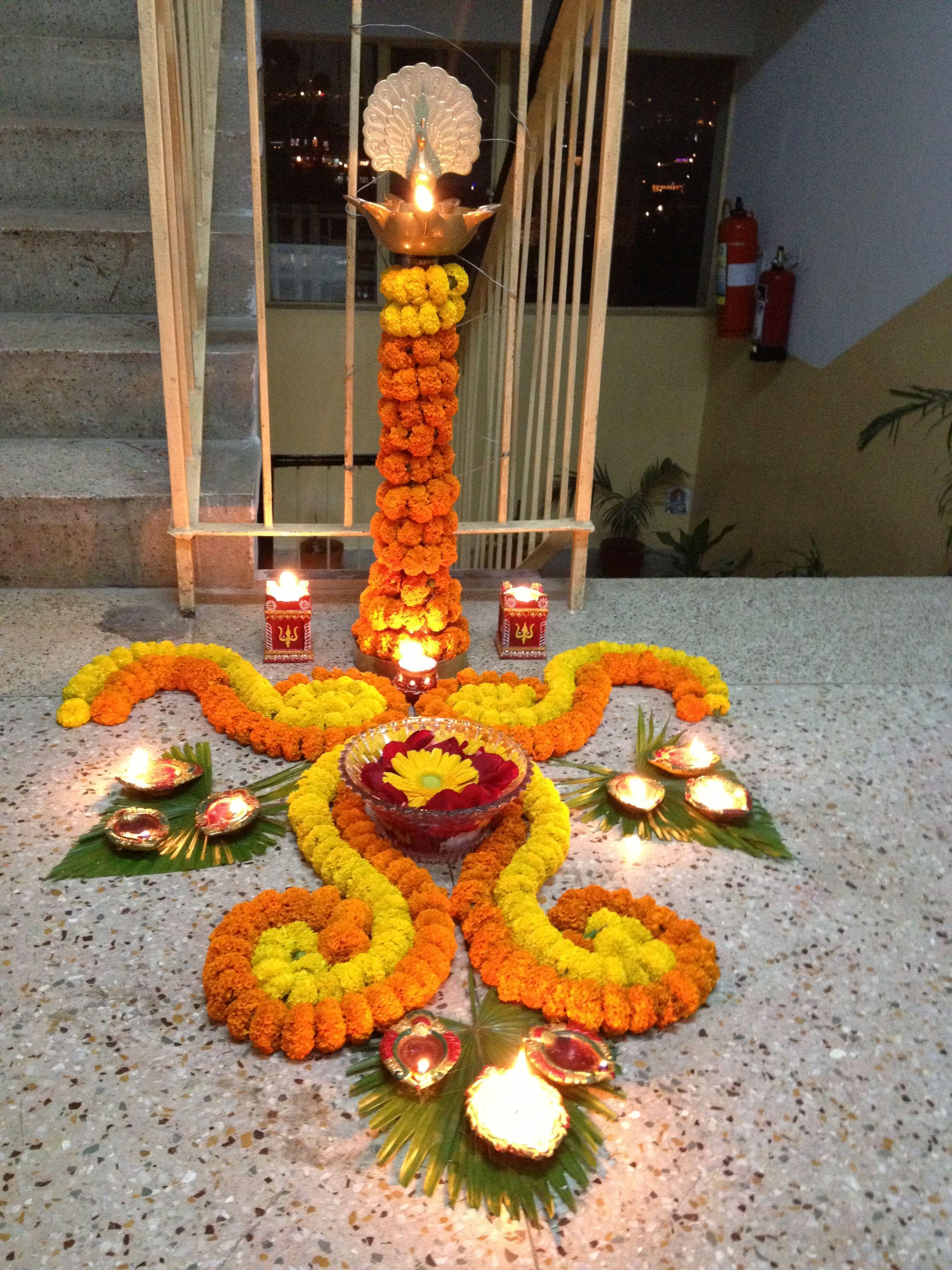 simple! Flower decorations, Diy diwali decorations