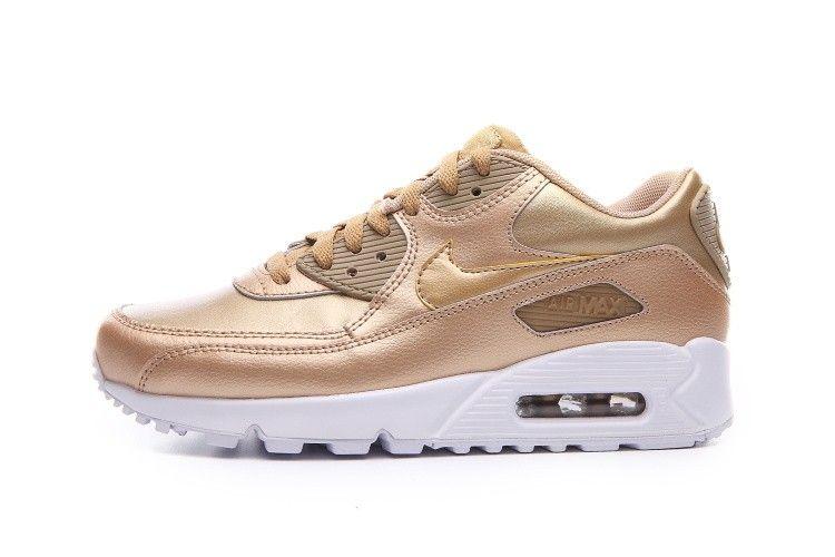 official photos 123c1 c913b Nike Air Max 90 LTR (GS) Womans Running shoes Metallic Gold White 724852-700