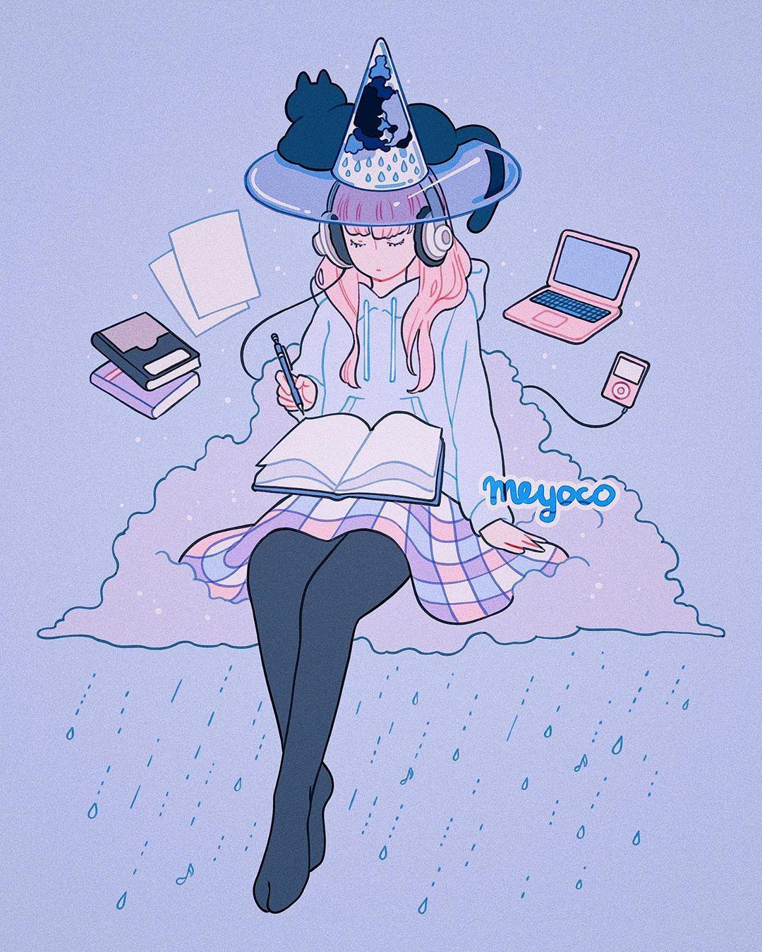 Meyo On Instagram Chillhop Witch Cartoon Art Styles Cute Kawaii Drawings Cute Art