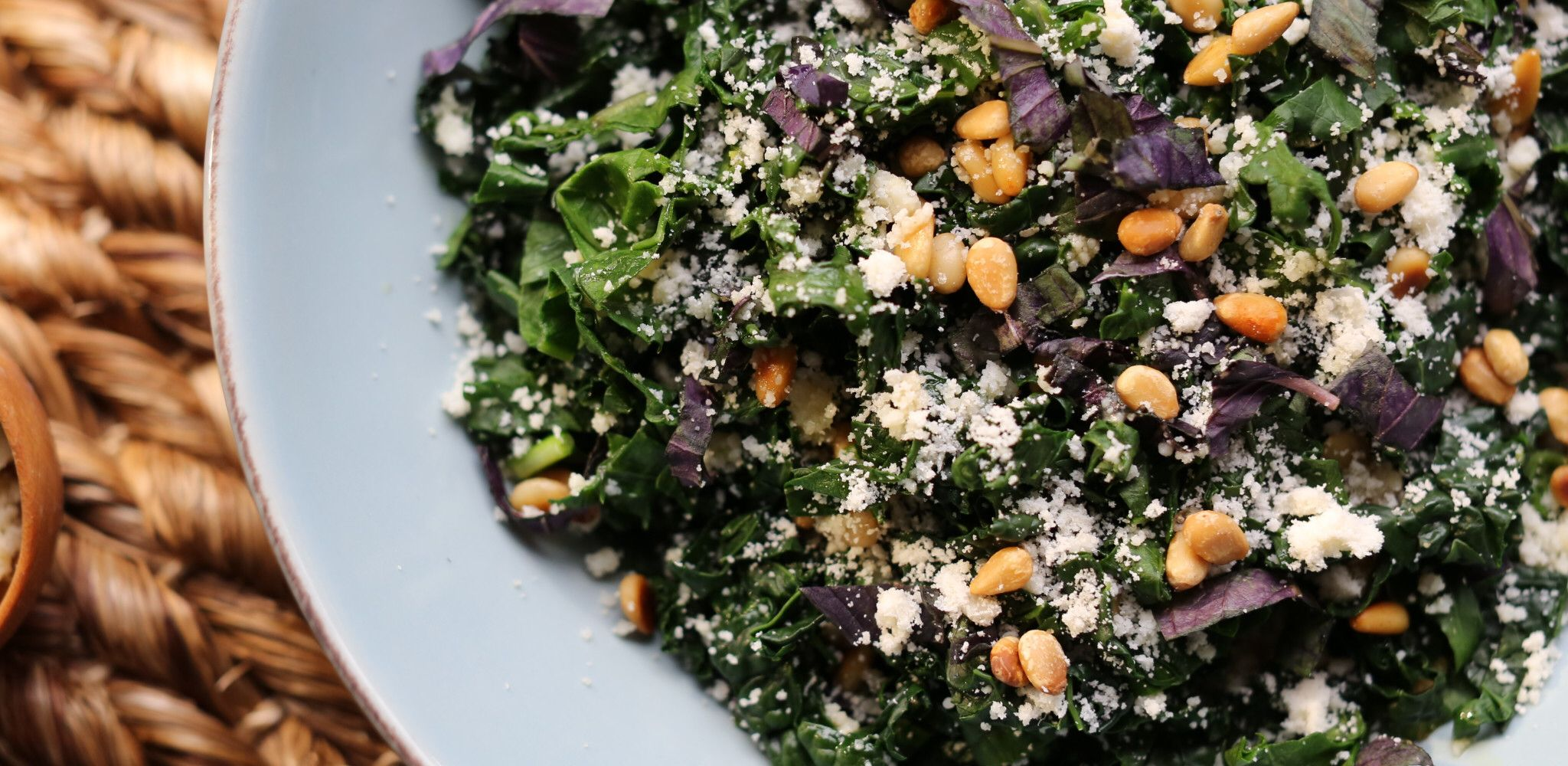 Purple And Green Kale Salad With Lemon Anchovy Vinaigrette Recipe Food Network Recipes Kale Salad Green Kale
