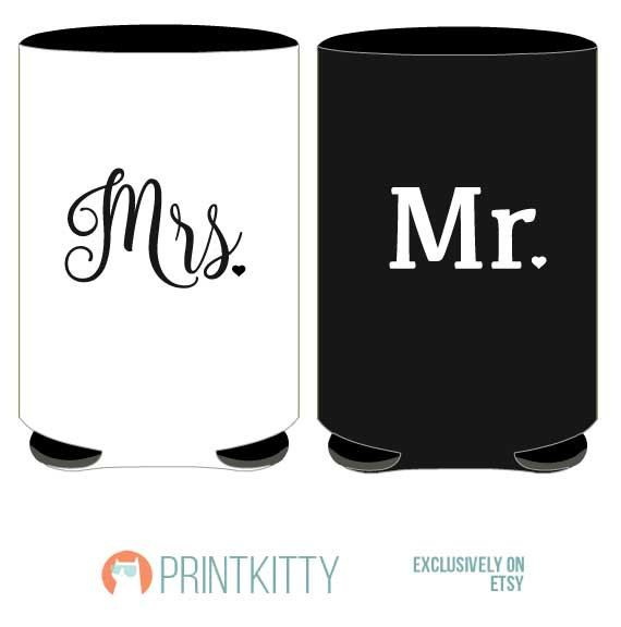 Mr and Mrs Can Cooler SET Personalized Bachelorette by PrintKitty ...