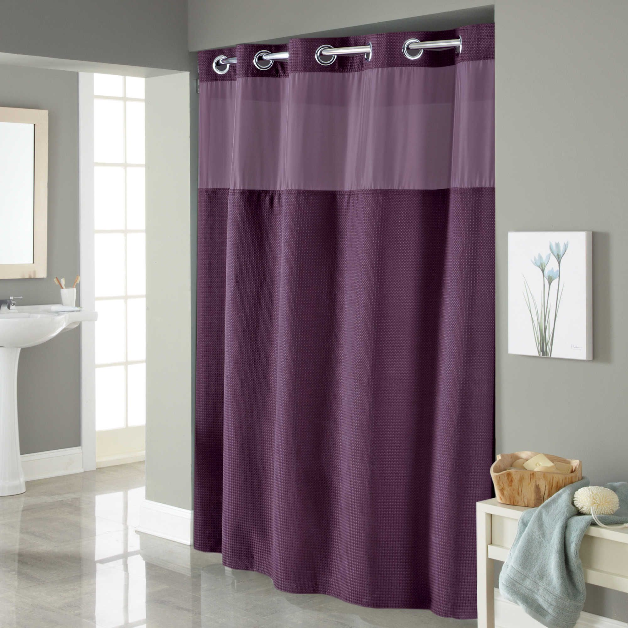 Hookless® Waffle Fabric Shower Curtain