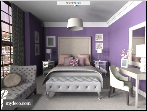 A Chic Bedroom Using Purple Walls With Contrasting White Trim Is Anchored By Neutral Furniture And Accessor Purple Master Bedroom Purple Bedrooms Woman Bedroom