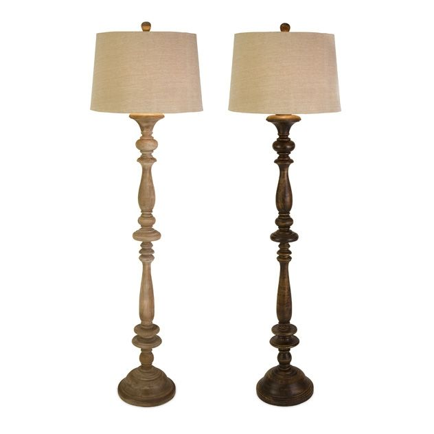Nilay Wood Floor Lamp Set Of 2 Solid Turned Wood Base Floor