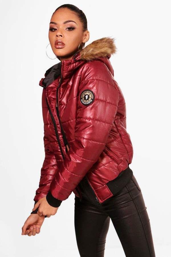 57c78a44a7b Faux Fur Hood Bubble Coat in 2019 | Jackets | Coat, Faux fur, Fur