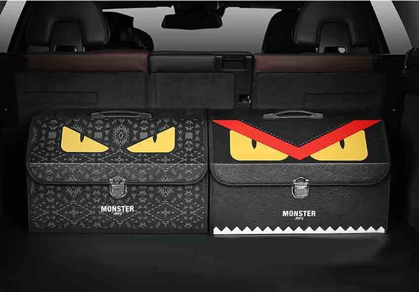Fendi 車用収納ボックス 小怪獣目 個性的 トランク 収納ボックス フェンディ 車用小物いれ 大容量 フェンディ トランク 収納 トランク