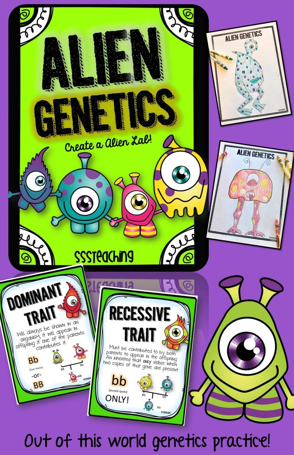 Hands On Lessons For Dominant And Recessive Traits Alien Style Punnett Squares Science Topics Heredity
