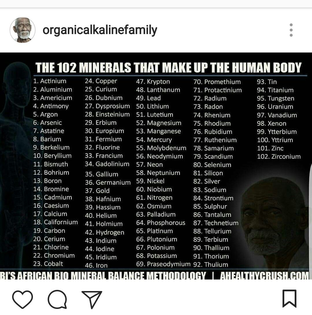 The 102 Minerals that make the body up, by Dr  Sebi  | Dr