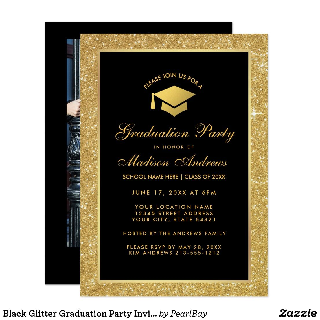 Black Glitter Graduation Party Invite - Photo Back   Zazzle.com   Graduation  party invitations, Graduation party, Gold glitter party