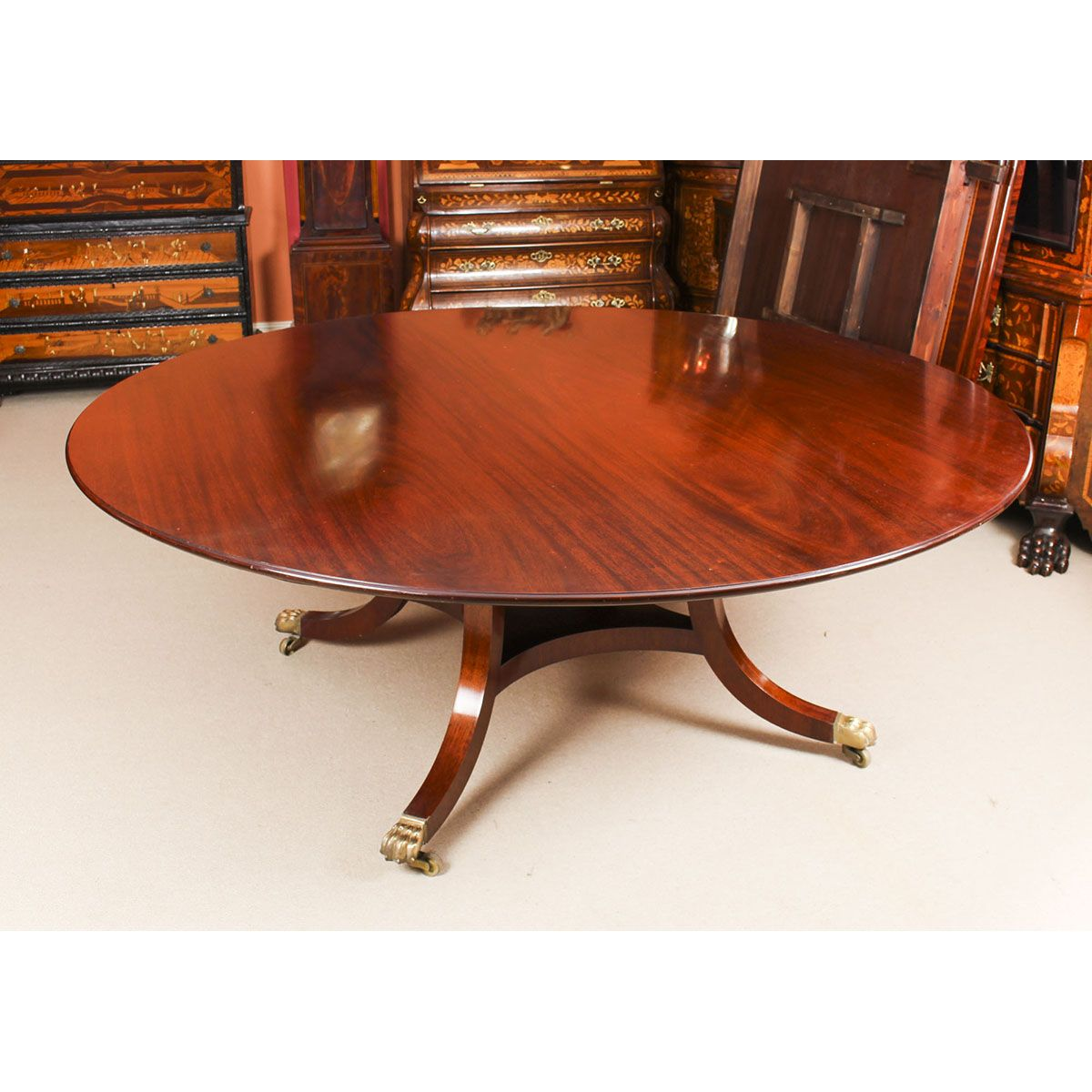Vintage 6 Ft 6 Round Mahogany Table By William Tillman 20th
