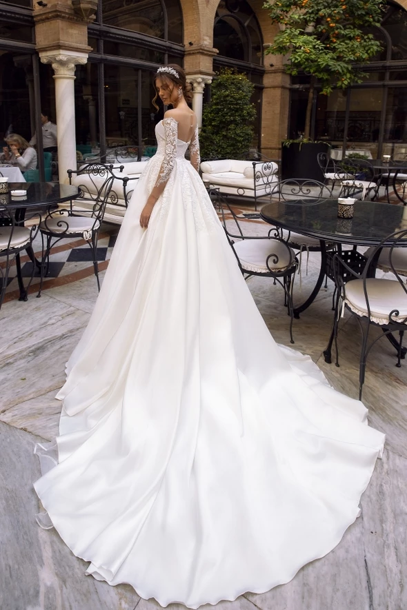 Romantic Ball Gown With Straight Across Neckline And Illusion