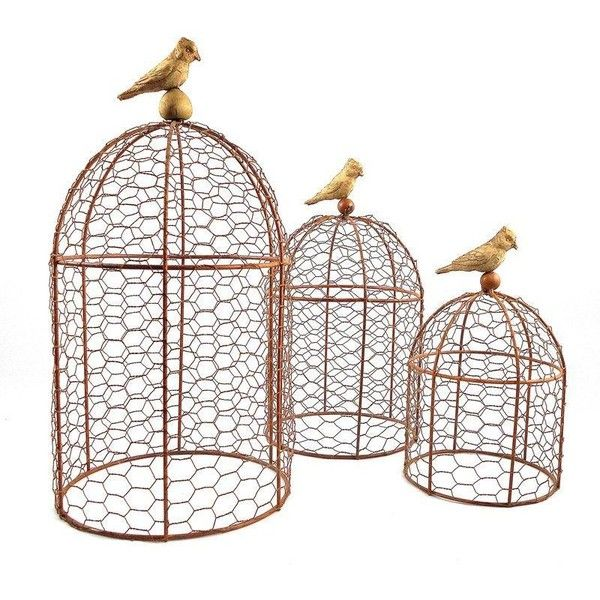 Decorative Wire Garden Cloches - Set of Three ($75) ❤ liked on ...
