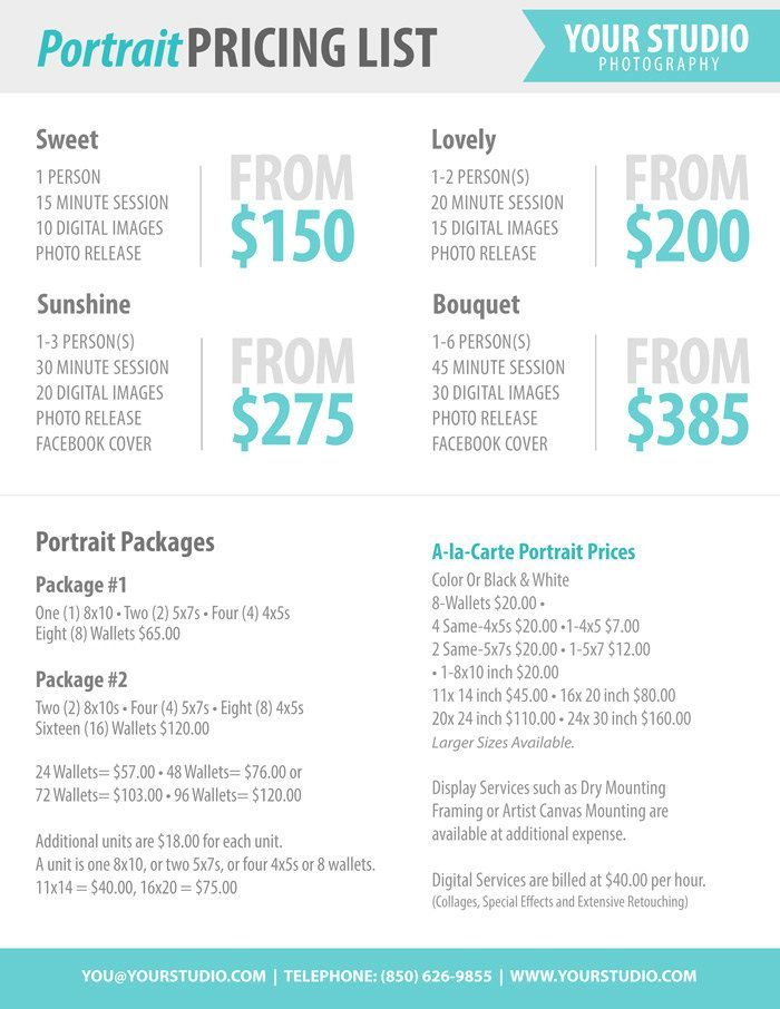 Photography Package Pricing - Photographer Price List - Marketing - price list format
