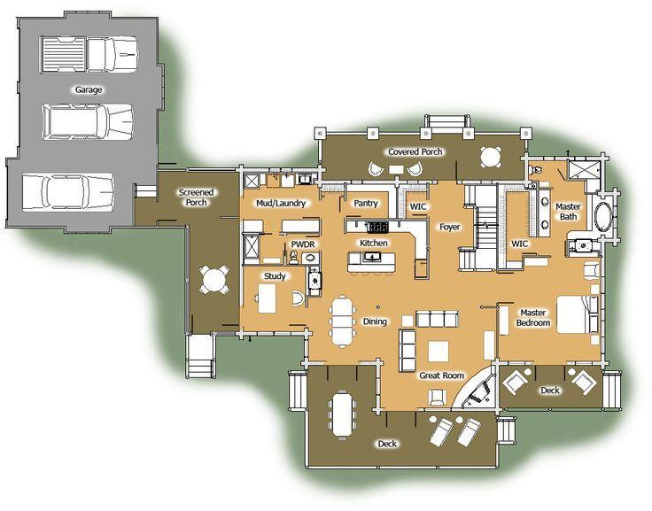 Image result for luxury log cabin floor plans dream home for Luxury log home floor plans