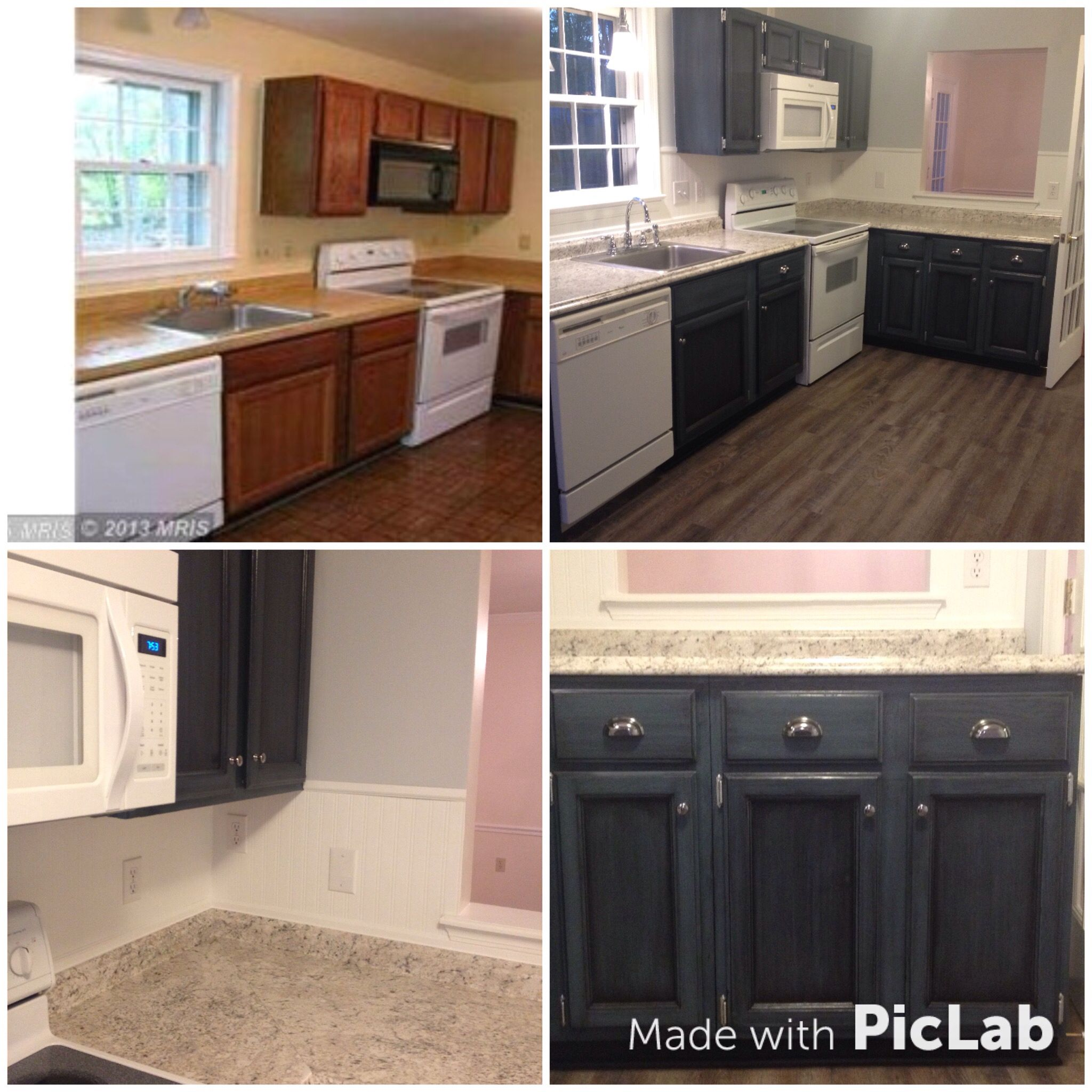 Before And After Of The Low Budget Update To Our Rental Property Kitchen Cabinets Painted In Benjamin Moo Rental House Kitchen Rental Kitchen Laminate Kitchen