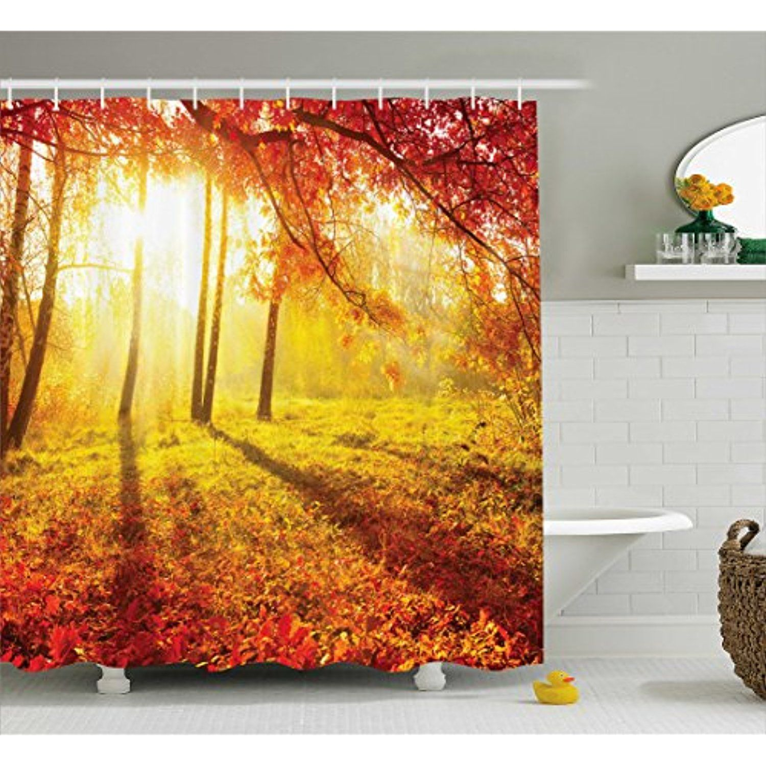 Maple Tree Shower Curtain by Lunarable, Canadian Tree in Park ...