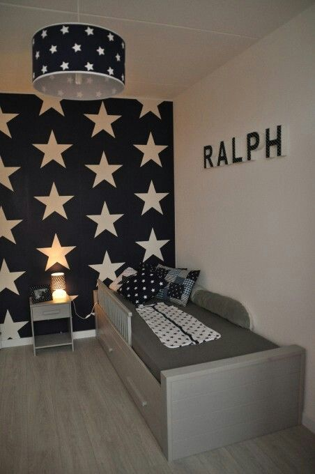 I Want This As Riley S Feature Wall But Light Grey Stars And The Other Walls With A Lighter Blue