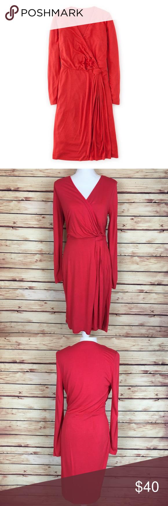 Boden henrietta wrap dress long sleeve red my posh picks