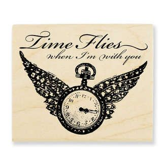 Stampendous Stamps » Woodmounted Rubber Stamps » Steampunk » Winged Timepiece