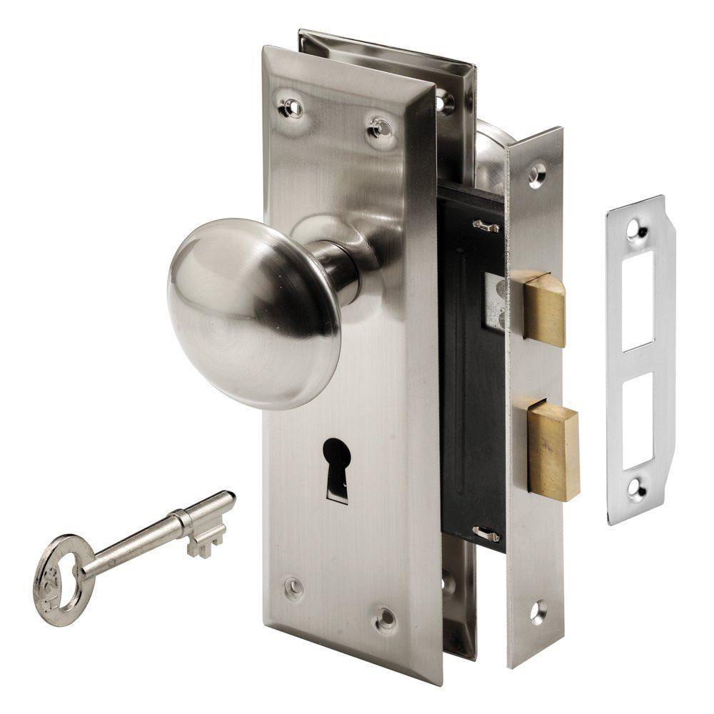 Classic steel keyed mortise lock set entry door handleset