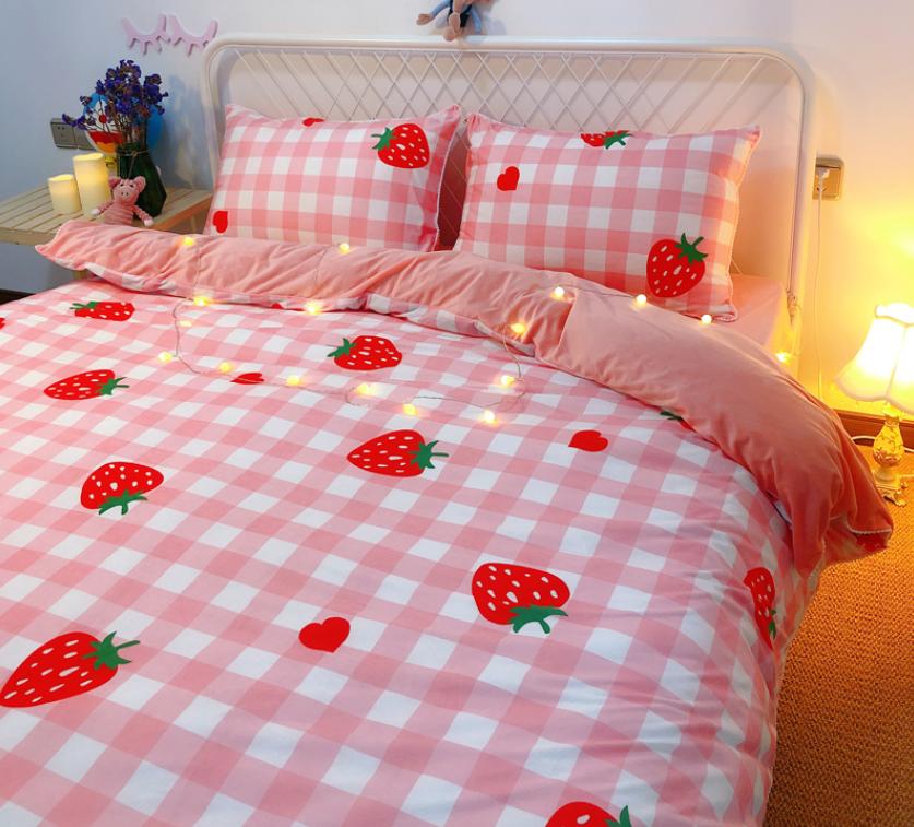 Sweet Strawberry Bedding Set in 2020 Aesthetic bedroom