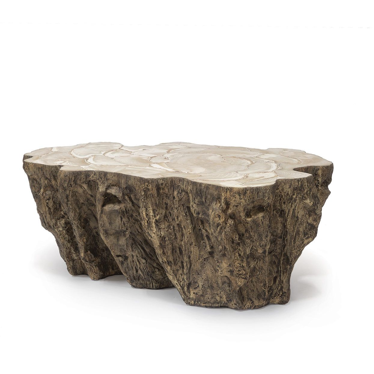Chloe fossilized clam lava coffee table fred and kris florida trunk shaped clam shell lava coffee table stonecast top with inlaid fossilized clam shell on stonecast base made to resemble tree trunk each piece varies geotapseo Image collections