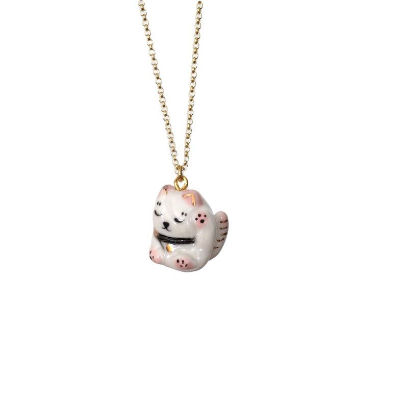Miniature porcelain maneki neko pendant on vermeil chain image 2