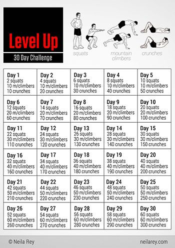 level up 30 day challenge squats mountain climbers