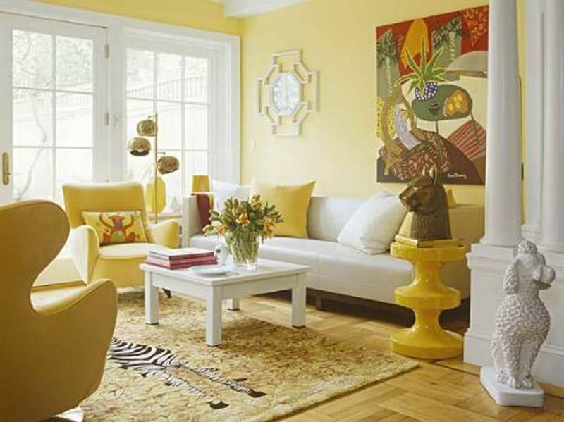 Bright yellow wallpaper decoration for living room with for Yellow living room decorating ideas