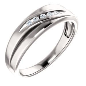 14K White 1/10 CTW Diamond Wedding Band