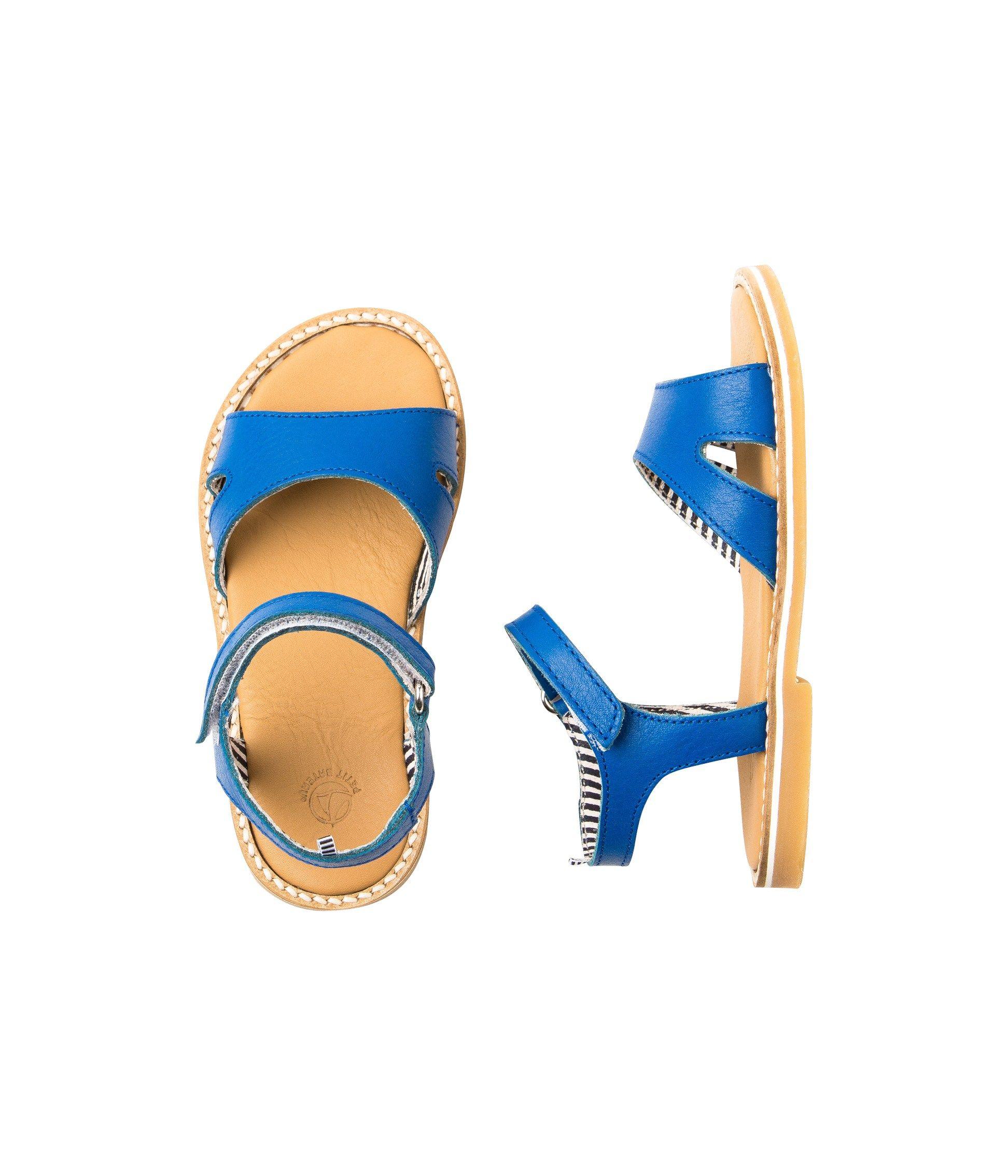 f8828ee0d Sandales fille en cuir à scratch bleu Surf - Petit Bateau ...