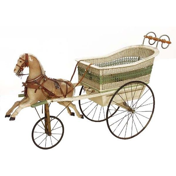Child S Horse And Wicker Carriage Rocking Horse Toy Vintage Baby Toys Antique Rocking Horse