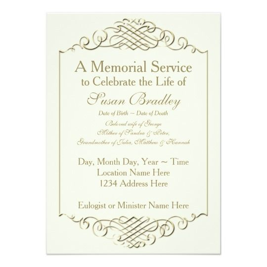 Elegant Golden Vintage Frame w 2 Memorial Service Card memorial - memorial service invitation template