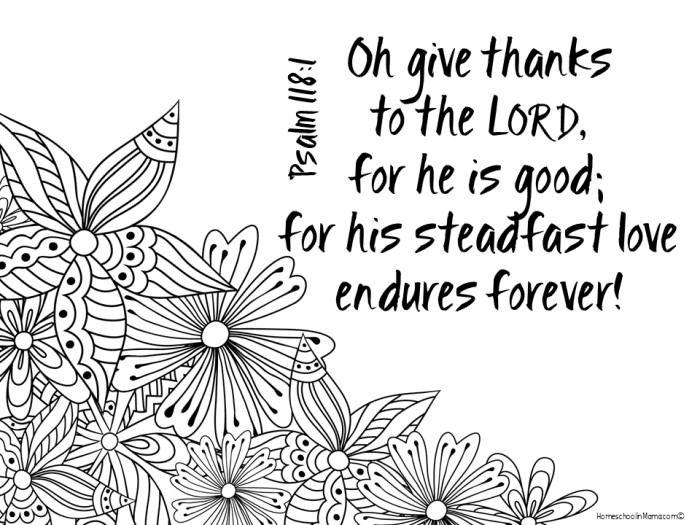 Thankfulness - Psalm 118:1 Free Adult Coloring Page | Sunday School ...