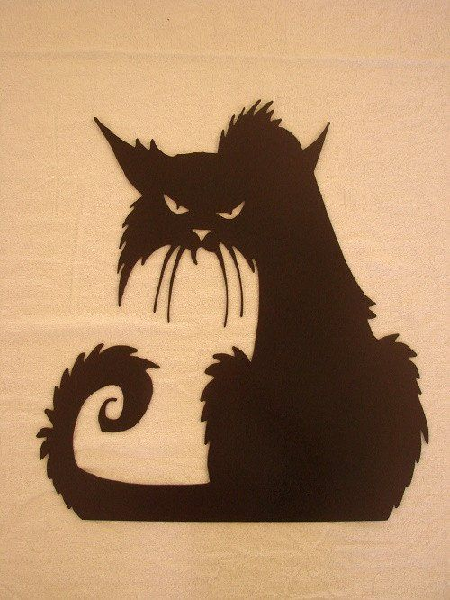 Old Spooky Witch\'s Cat CNC Plasma Metal Wall Sculpture - Black ...