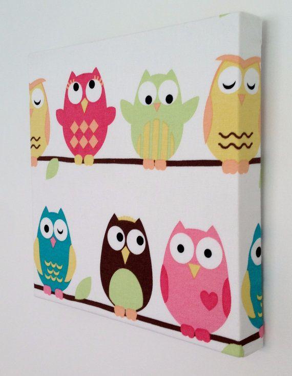 items similar to kids canvas wall art nursery decor owls nursery on etsy elena i maria. Black Bedroom Furniture Sets. Home Design Ideas